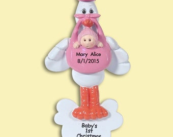 Baby's First Christmas - GIRL Stork - Personalized Ornament  - RESIN Ornament
