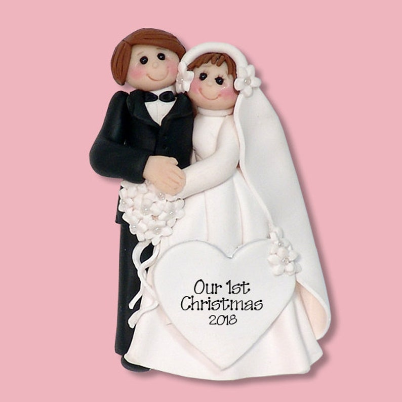 Bride /& Groom Handmade Polymer Clay Personalized WEDDING Ornament Limited Edition