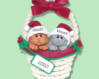 Two KITTY CATS in a Basket- Handmade Polymer Clay - Personalized Christmas Ornament - Limited Edition