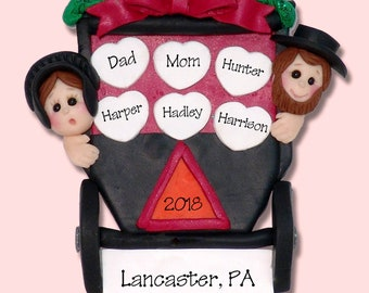 Amish Country Family Vacation of 5 or 6 Polymer Clay HANDMADE Personalized Christmas Ornament - Limited Edition