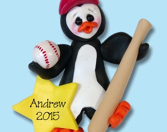 Petey Penguin Baseball Player -Handmade Polymer Clay - Personalized Christmas Ornament - Limited Edition