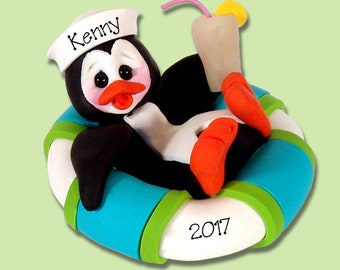 Petey Penguin in Float HANDMADE POLYMER Clay Ornament - Limited Edition - Personalized Christmas Ornament