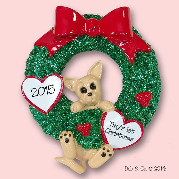 Chihuahua Puppy Dog Hanging In Wreath Hand Painted Resin Etsy