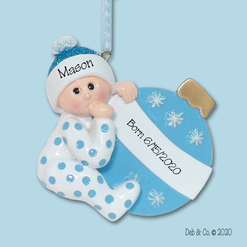 First Christmas 2020 Ornament Resin Baby's First Christmas Baby BOY Personalized Christmas | Etsy