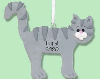 GrayTabby  KITTY CAT HANDMADE Polymer Clay Personalized Christmas Ornament - Limited Edition