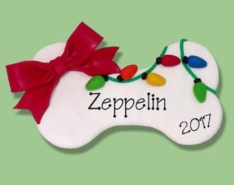 Puppy DOGBONE Personalized Dog Christmas Ornament HANDMADE Polymer Clay - Limited Edition