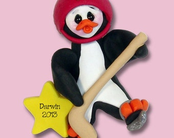 Petey Penguin Hockey Player - HANDMADE POLYMER CLAY - Personalized Christmas Ornament - Limited Edition