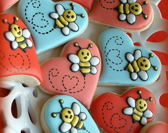 Valentine's Day - Valentine cookies - Bee cookies - Heart cookies - 1 dozen OR 1/2 dozen with gift packaging option