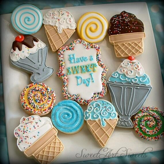 Ice Cream Cookies 1 Dozen Ice Cream Birthday Cookies