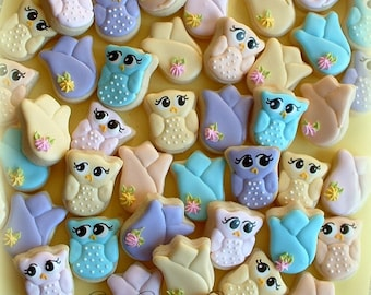 Owl and tulip cookies - Easter cookies - 2+ dozen MINI cookies - spring cookies