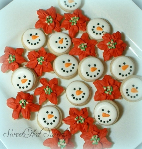 Christmas Cookies Snowman Cookies Mini Snowmen And Poinsettia Cookies Winter Cookies Holiday Cookies