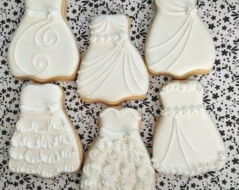 Wedding cookies - Wedding dress cookies - bridal cookies - bride - bridal shower - wedding cookie favors - 1 dozen bridal dress cookies