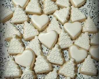 Wedding cookies - MINI wedding cakes and hearts - decorated cookie favors