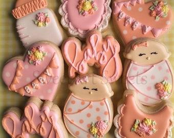 Baby cookies - baby shower cookies - decorated cookie favors - baby announcement - baby boy - baby girl cookies