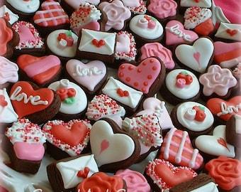 Valentines Day cookies - 2, 3, 4, or 5 dozen MINI Valentine Cookies - Heart cookies - Flower cookies - chocolate cookies