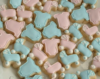 Baby cookies - baby shower cookies - baby announcement - baby strollers and one piece outfit cookies - MINI cookies