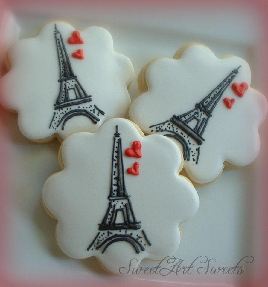 Paris cookies Eiffel tower cookies 1 dozen | Etsy