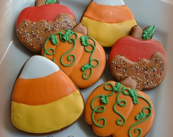 Halloween cookies - fall cookies - caramel apples - candy corn - pumpkin cookies