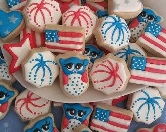 Patriotic cookies - 4th of July cookies - MINI cookies - patriotic cookies - flag cookies - owl cookies