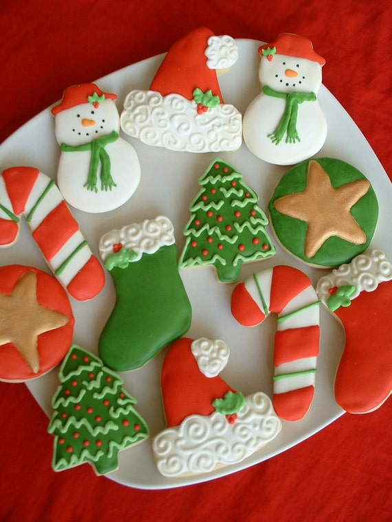 Christmas Cookies Candy Cane Snowman Stocking Holiday Gift Cookies