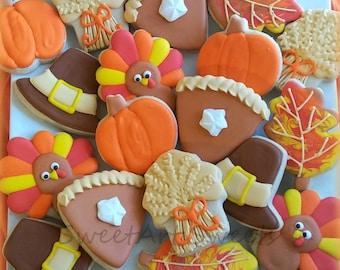 Thanksgiving cookies - pumpkin pie cookies - pilgrim cookies - pumpkin cookies - decorated cookies - hostess gift