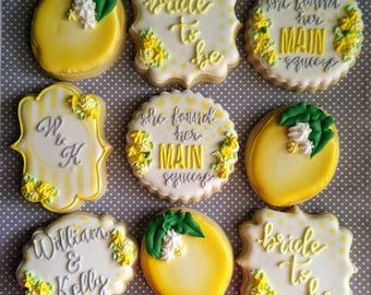 Bridal shower cookies - she found her main squeeze lemon bridal cookies