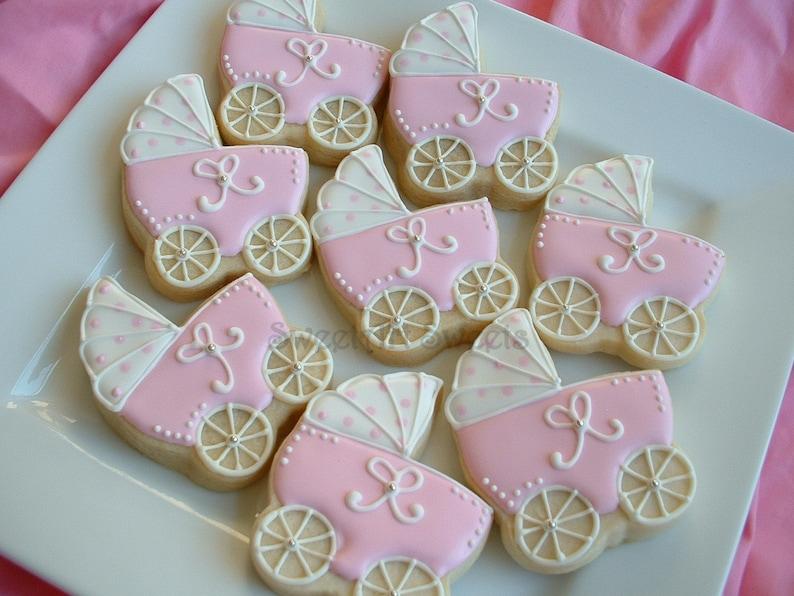 Baby Shower Cookies Baby Stroller Cookies 1 Dozen Baby Carriage Favors Personalized Cookies Baby Girl Cookies Baby Boy Cookies