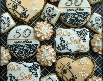 Anniversary cookies - 50th wedding anniversary cookies - decorated cookie favors - golden anniversary