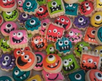 Monster cookies - MINI Valentine cookies - Halloween cookies - birthday party cookies - kids cookies