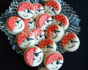 Pirate cookies - 2, 3, or 4 dozen cookies - MINI pirate cookies - childrens birthday party - birthday cookies - Decorated cookie favors