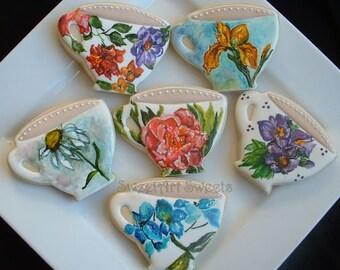 Mothers Day cookies - flower cookies - painted cookies - teacup cookies - Valentine cookies -Easter cookies - 1/2 dozen or 1 dozen option