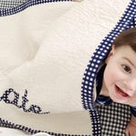 SALE Baby Boy Quilt w/ Name Applique Personalized. Excellent Choice of Designer Fabrics