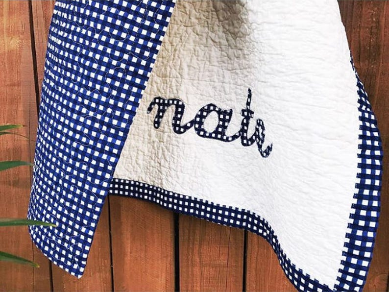 Excellent Choice of Designer Fabrics SALE Baby Boy Quilt w Name Applique Personalized