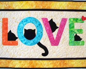 KIT: Cat Love Letters Wall Hanging Quilt Pattern and KIT