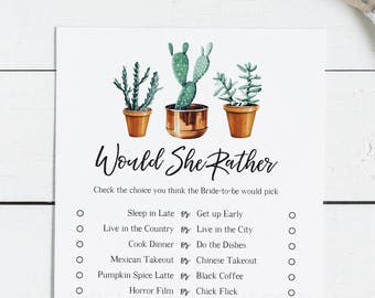 Bridal Shower Game - Would She Rather, Modern Cactus Theme, Succulant, Cacti Desert Fiesta at home, Instant Download, DIY (1510)