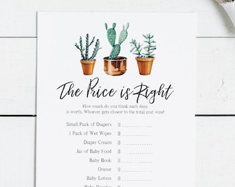 The Price is Right Baby Shower Game - Modern Cactus Theme, Succulant, Bridal, Cacti, Desert, Fiesta, Instant Download, DIY (1505 1510)