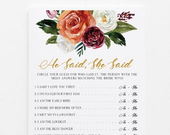 printable bridal shower game he said she said editable template diy personalized questions wedding instant download 1534