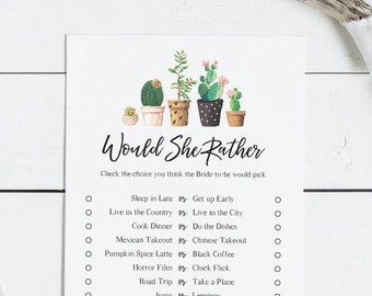 Bridal Shower Game Would She Rather | Modern Cactus | Succulant, Cacti Desert Fiesta at home, Instant Download, DIY (1506)
