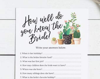 How Well Do You Know the Bride, Bridal Shower Game - Who Knows Best Modern Cactus Theme, Succulant, Cacti Desert Fiesta, Activity DIY (1506)