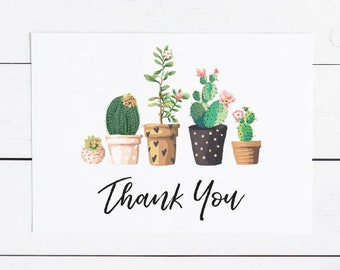Printable Thank You Card Modern Cactus | Succulant, Cacti Desert Fiesta at home, Instant Download, DIY (1518 1506)
