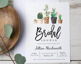 cactus bridal shower invitation modern cacti fiesta invite succulant desert print at home instant download green diy 1506
