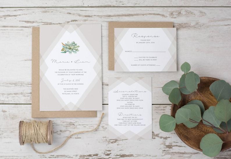 Wedding Invitation Template Succulent Printable Rustic