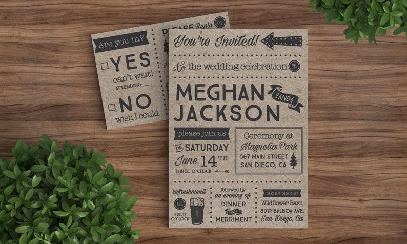 Wedding Invites Template Printable Rustic