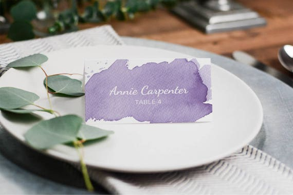 d2f2febd911a7 Printable Place Card Template Purple Wedding Escort cards | Etsy