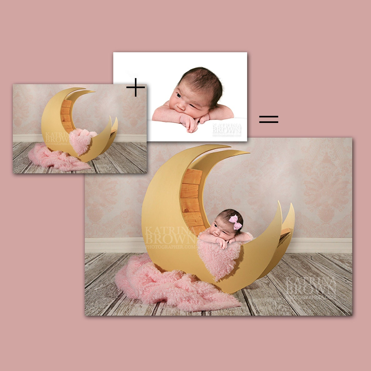 Pink moon prop for infant newborn photography 2 digital files etsy