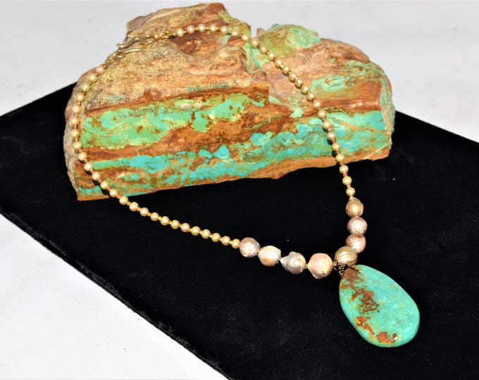 Turquoise and Pearl necklace, Rockstar Cowgirl, Elisa Turquoise pendant, Vintage pearl necklace