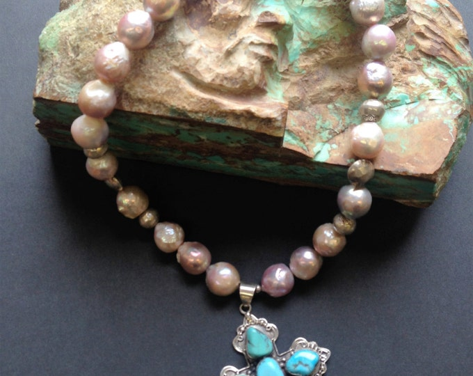 Rockstar Cowgirl Blessed Sterling Turquoise Cross and Luster Pearl Necklace Set