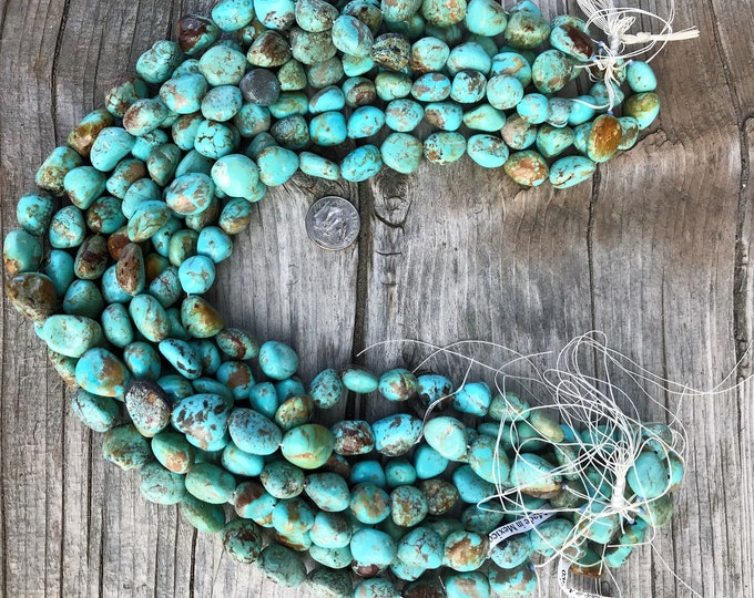 Large Sonoran Turquoise Nugget Strand, Genuine Mexican Turquoise