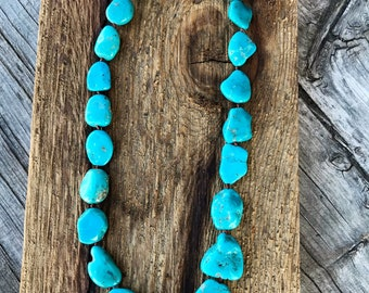 Silk Knotted Campitos Turquoise Necklace, Mexican Turquoise Necklace