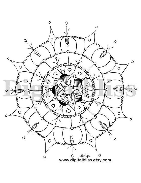 Adulto para colorear Mandala Deco página instantánea descarga   Etsy